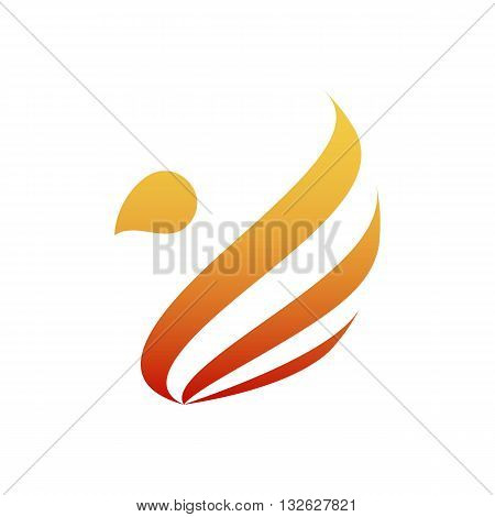 Stylized abstract firebird icon vector illustration isolated on white background.