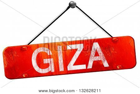 giza, 3D rendering, a red hanging sign