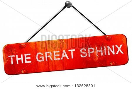 the great sphinx, 3D rendering, a red hanging sign