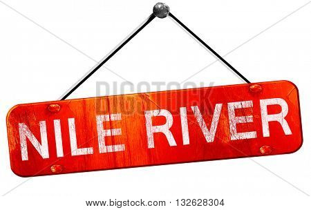 nile river, 3D rendering, a red hanging sign