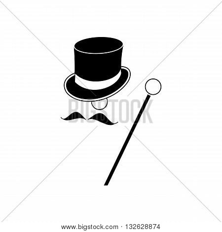 Black baron mister with heat mustache and stick vector illustration isolated on white background.