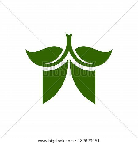 Stylized green theatre vector illustration isolated on white background.