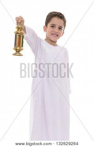 Happy Boy In White Djellaba Celebrating Ramadan