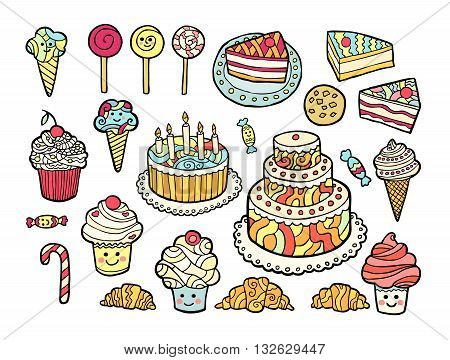 Set of cute colorful sweets isolated on white background. Vector illustration.