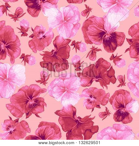 Pink flower pattern and print isolate on pink
