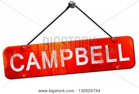 campbell, 3D rendering, a red hanging sign