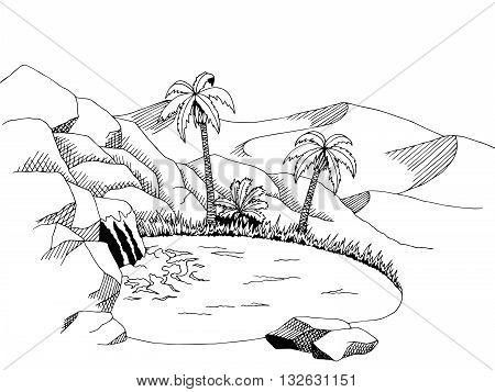 Oasis desert graphic art black white landscape illustration vector