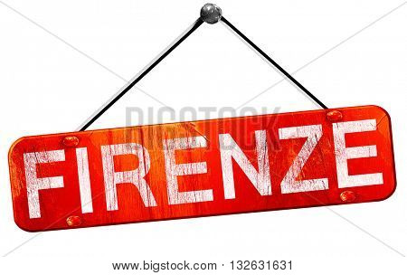 Firenze, 3D rendering, a red hanging sign