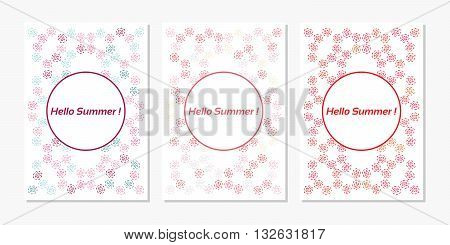 Vector set of design templates varicolored leaflets and frames A4 size layout collection of geometric colorful pages for gift card cover book printing fashion presentation. Hello Summer.