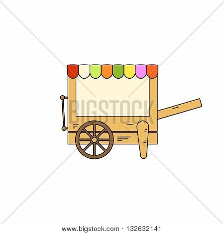 Cartoon style colorful mobile stall vector illustration isolated on white background.