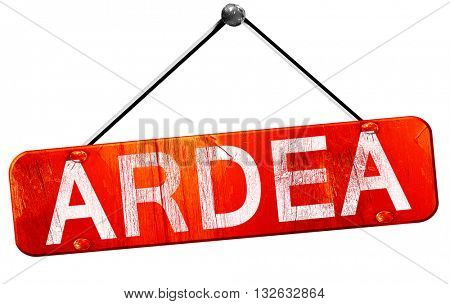 Ardea, 3D rendering, a red hanging sign