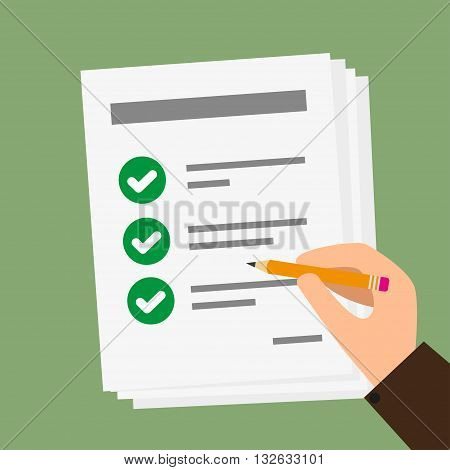 Vector of Hand holding business paper with checklist and pencil