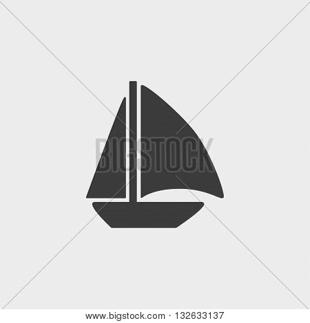 Sail Boat icon in a flat design in black color. Vector illustration eps10