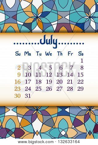 Abstract kaleidoscope background with eastern ornament and dates of summer month July 2017. Vector illustration