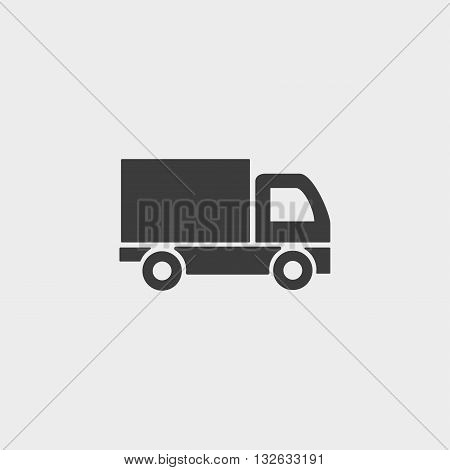 Truck icon in a flat design in black color. Vector illustration eps10
