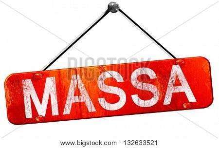 Massa, 3D rendering, a red hanging sign