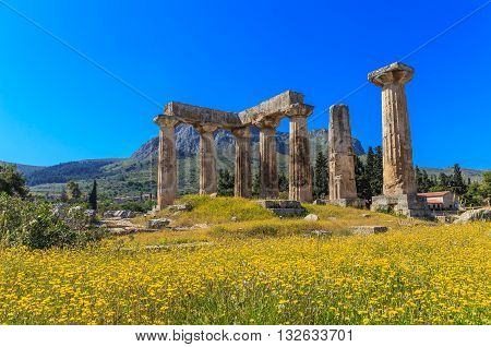 Apollo temple ruins in Ancient Corinth, Peloponnes