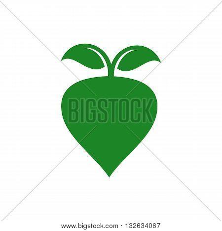 Green radish slhouette vector illustration isolated on white background.