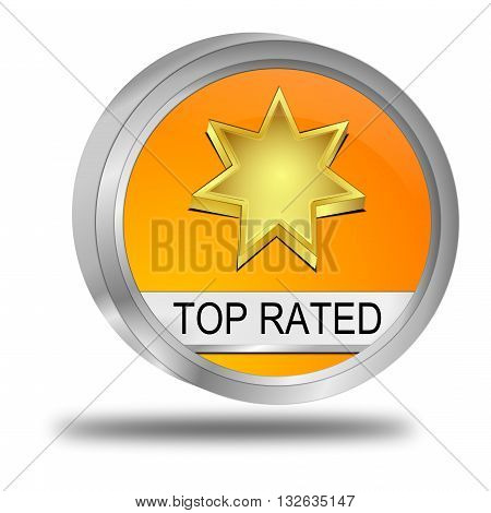 decorative orange Top Rated Button - 3D illustration