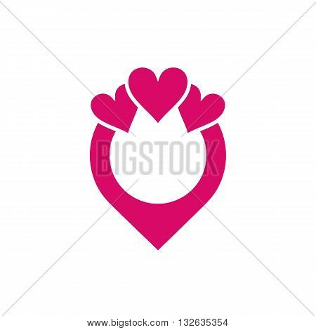 Beautiful stylized wedding ring with three pink hearts vector illustration isolated on white background.