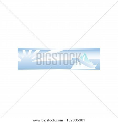 Winter background with mountains stylized with line and sun over horizon vector illustration isolated on white backgorund.