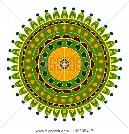 Mandala ethnic decorative elements round ornament. Decorative pattern round decorative element on a white background.