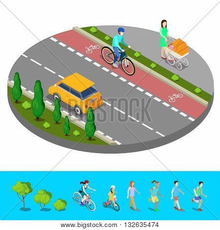 Isometric City. Bike Path with Bicyclist and Footpath with Mother and Baby Carriage. Vector illustration