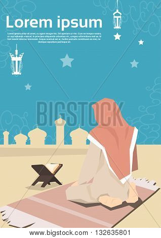 Muslim Woman Pray On Carpet Koran Ramadan Kareem Mosque Religion Holy Month Vector Illustration
