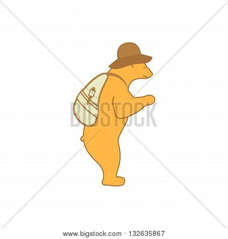 Cute cartoon style bear like tourist with hat and bag vector illustration isolated on white background.