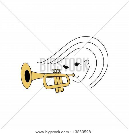 Stylized line drawing girl playing trumpet vector illustration isolated on white background