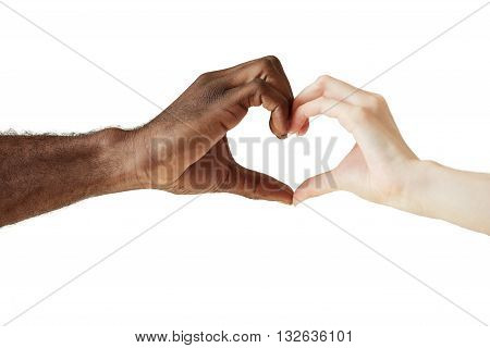 Two People Of Different Races And Ethnicities Holding Hands In The Shape Of A Heart, Symbolizing Lov