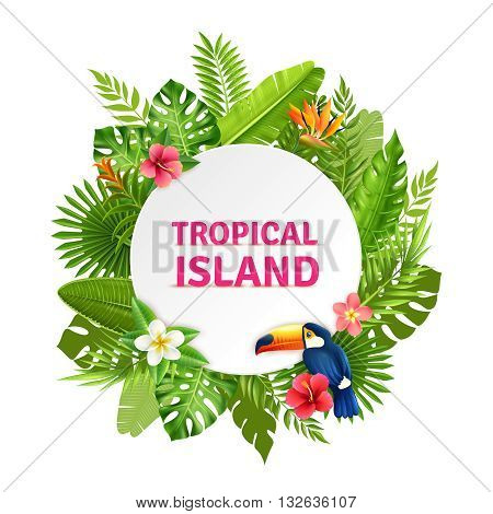 Tropical island decorative circular frame design with toucan bird in succulent rainforest plants flowers colorful vector illustration