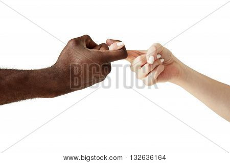 Interracial Human Hands Crossing Fingers For Friendship And Love. Peace And Unity Against Racism. Mu