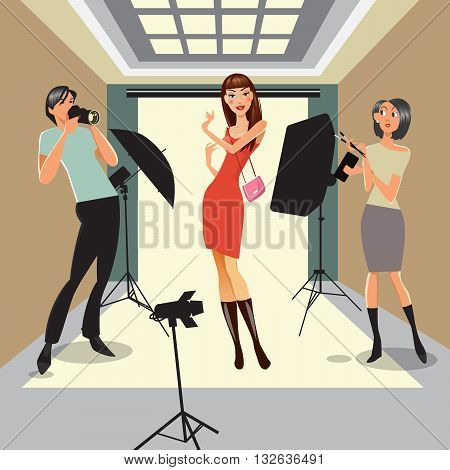 Model Poses in Photo Studio. Photographer and Visagist Working in Professional Studio. Vector illustration