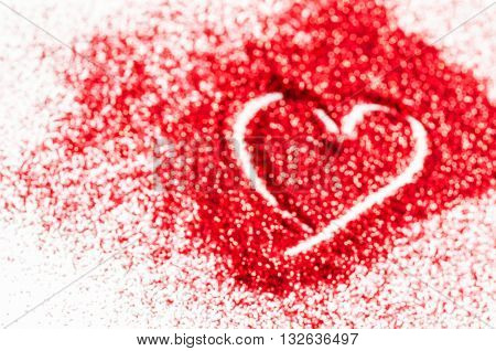 red glitter defocused lights abstract bokeh lights with heart shape.