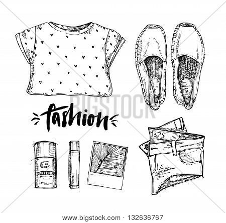 Hand drawn vector illustration - fashion accessories. Set of stylish ctother. Summer look. Isolated elements on white background