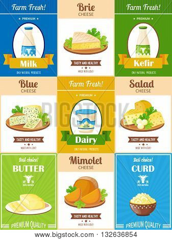 Dairy products poster set with presentation different kinds of cheese butter curd kefir and milk flat vector illustration