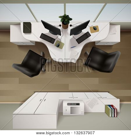 Office Interior  Background. Office Interior Vector Illustration. Office Interior Design. Office Interior Realistic Decorative Illustration. Office Interior Top View Illustration.