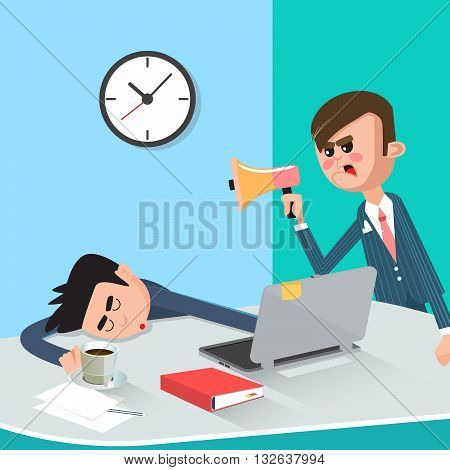 Lazy Businessman Sleeping at Work. Angry Boss. Vector illustration