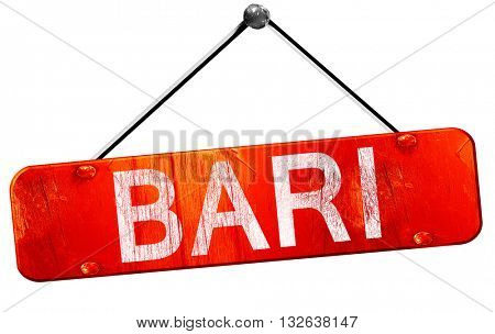 Bari, 3D rendering, a red hanging sign