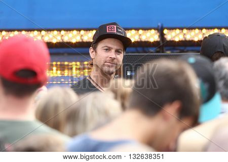 NEW YORK-JUNE 26:  Singer Kip Moore attends the Dierks Bentley performance at ABC's Good Morning America Summer Concert Series at Rumsey Playfield on June 26, 2015 in New York City.
