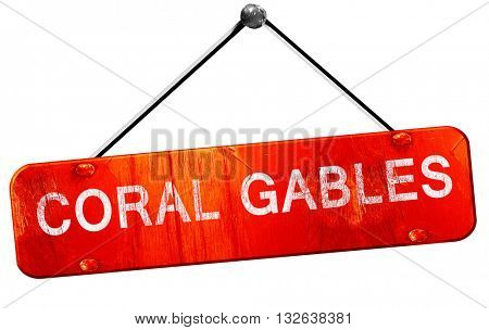 coral gables, 3D rendering, a red hanging sign