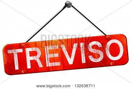 Treviso, 3D rendering, a red hanging sign