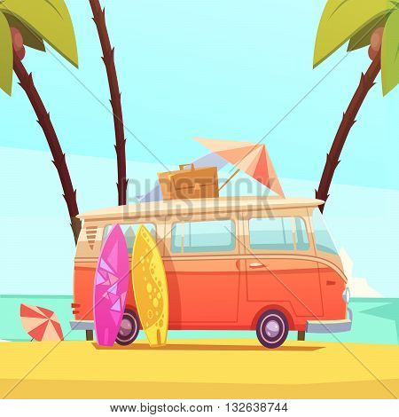 Surfing and bus with surfboards case and umbrella ready for trip flat retro cartoon vector illustration