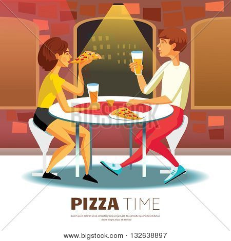 Pizza Time Background. Eating Out Vector Illustration. Pizza Time Design. Pizzeria Cartoon Decorative Symbols.
