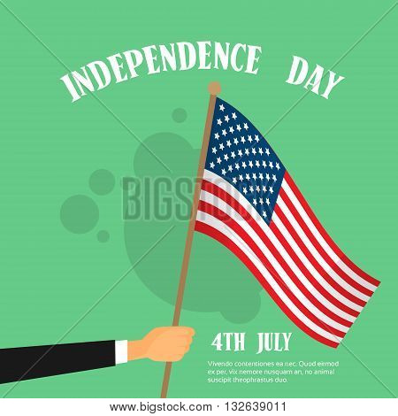 Hand Hold United States Flag Independence Day Banner Vector Illustration