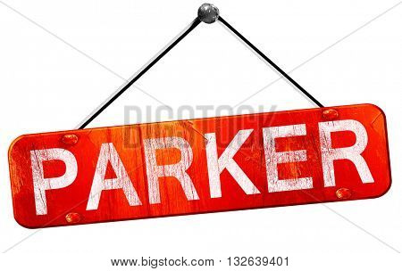 parker, 3D rendering, a red hanging sign