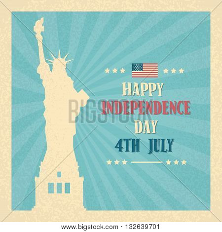 Liberty Statue Happy Independence Day United States American Holiday Banner Vector Illustration