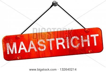 Maastricht, 3D rendering, a red hanging sign