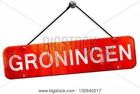 Groningen, 3D rendering, a red hanging sign